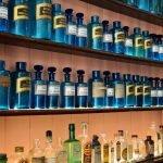 Old medicinal bottles in blue